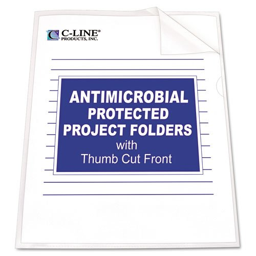 C-Line : Antimicrobial Project Folders, Jacket, Ltr, Polypropylene, Clear, 25/Box -:- Sold as 2 Packs of - 25 - / - Total of 50 Each