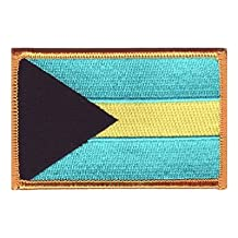 """The Flag of BAHAMAS PATCH, Superior Quality Iron-On / Saw-On Embroidered Patch - Each one is individually carded and sealed in a professional retail package - 3.5"""" x 2.25"""" Inches - Made in the USA"""