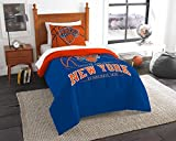"""New York Knicks - 2 Piece TWIN Size Printed Comforter Set - Entire Set Includes: 1 Twin Comforter (64""""x86"""") & 1 Pillow Sham - NBA Basketball Bedding Bedroom Accessories"""
