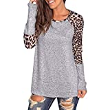 Willow S Women Fashion Sport Casual O-Neck Leopard Printing Patchwork Long Sleeve Loose T-Shirt Tops Blouse Gray
