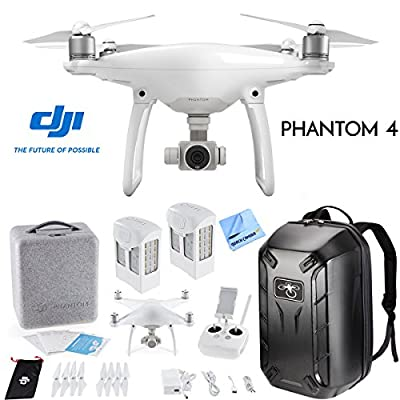 DJI Phantom 4 Pro Quadcopter Drone Camera with Battery, Charging Hub, Custom Backpack and 64GB Memory Card (CP.PT.000488) from DJI