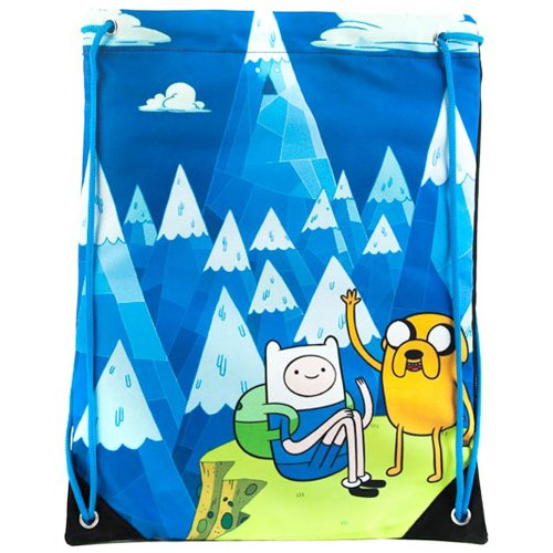 Adventure Time Jake And Finn Blue Mountain Drawstring Gym Bag Blue