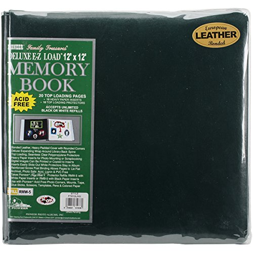 Pioneer 12 Inch by 12 Inch Postbound Leather Family Treasures Memory Book, Hunter Green