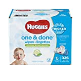 HUGGIES ONE & DONE Cucumber and Green Tea Scented Baby Wipes, Hypoallergenic (6X Soft Packs, 336 Count)
