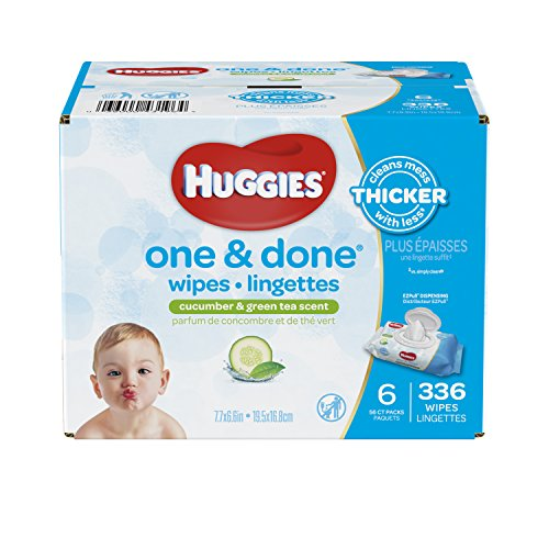 Huggies One and Done Baby Wipes - Cucumber & Green Tea Scent - 336 ct ()