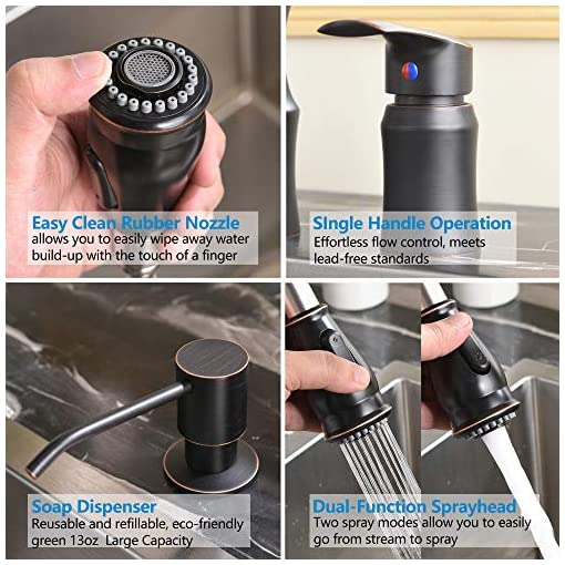 Kitchen Hotis Modern Oil Rubbed Bronze Pull Out Stainless Steel Single Handle Pull Down Kitchen Sink Faucet, Kitchen Faucets… modern sink faucets