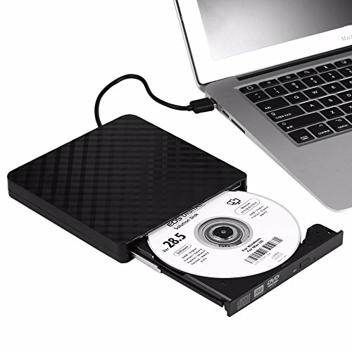TJ8 External CD Drive-USB 3.0 Portable Slim CD DVD +/-RW Drive Writer/Rewriter/Burner,High Speed Date Transfer for WIN7/8/10/Linux/Mac OS Macbook Laptop Desktop Notebook by TJ8 (Image #1)