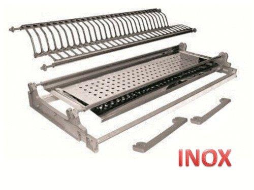 Inox Einbau-Abtropfgestell mit Klemmfeder-Befestigung, 56cm, Edelstahl, mit Rahmen, in Italien hergestellt