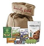 Vegan Snack Hamper by The Yummy Palette | Nakd, Goody Good Stuff Eat Real Trek Pukka and more in Basically British Rustic Gift Bag