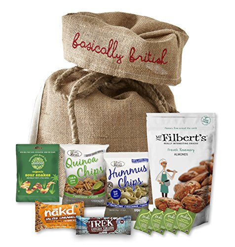 Vegan Snack Hamper by The Yummy Palette | Nakd, Goody Good Stuff Eat Real Trek Pukka and more in Basically British Rustic Gift Bag by The Yummy Palette