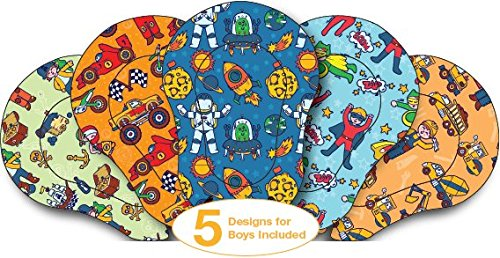 AccuMed Orthopedic Kid's Adhesive Disposable Medical Eye Patch Bandages with 5 Different Designs for Boys in Regular Size for Lazy Eye, Amblyopia or Opticlude (2 Boxes, 30 per Box) (60 Count) (2018)