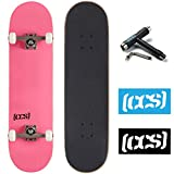 CCS Logo and Natural Wood Skateboard Completes - Fully Assembled (Pink, 8.0)