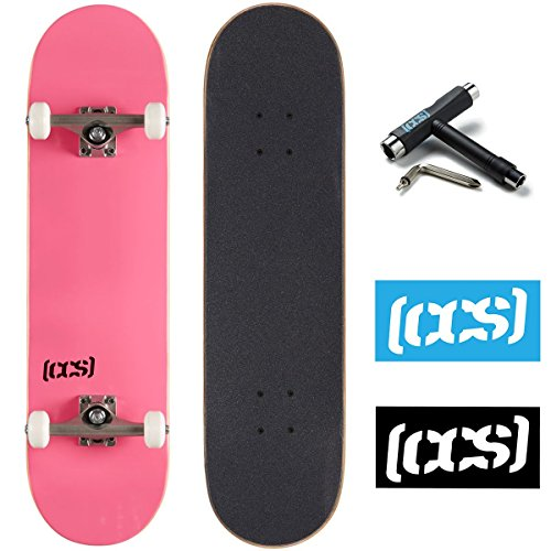 CCS Logo and Natural Wood Skateboard Completes - Fully Assembled (Pink, 7.75)