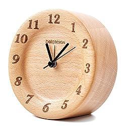 belaDESIGN Wood Round Silent Table Alarm Clock Classic Vintage Elegant for Home Decoration Bedroom Office (087)