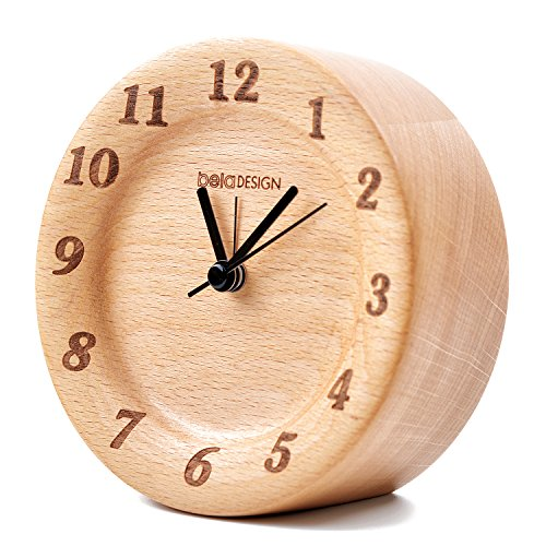 belaDESIGN Wood Round Silent Table Alarm Clock Classic Vintage Elegant for Home Decoration Bedroom Office (087) (Majesty 5 Piece Place Setting)