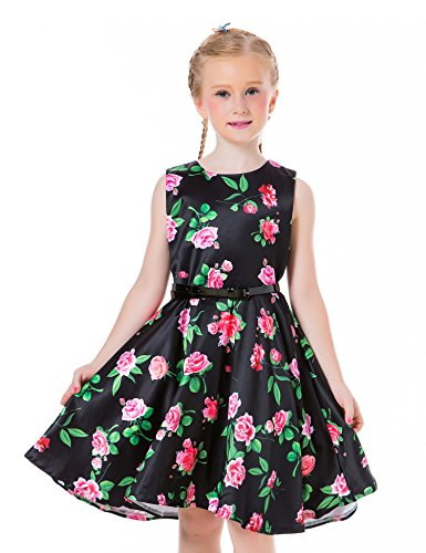 Ephex Toddler Girls Retro Sleeveless Swing Pageant Black Dresses with Belt 10 Years