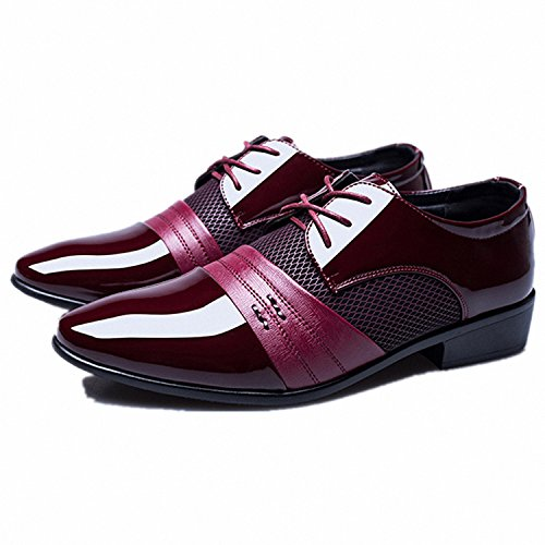 Drawingo Men Dress Shoes Plus Size 38-47 Men Business Flat Shoes Black Brown Breathable Low Top Men Formal Office Shoes Red 10.5