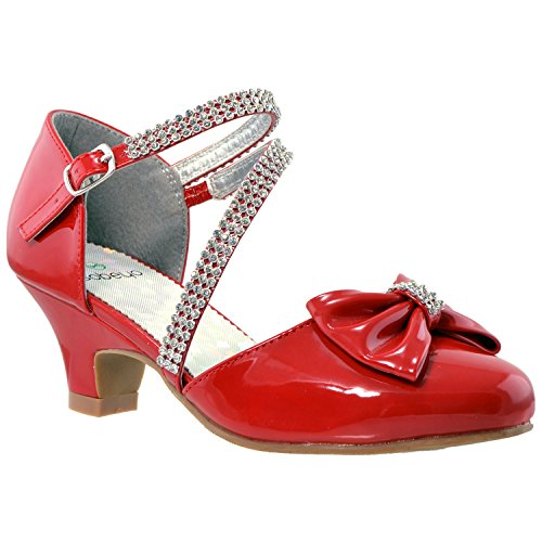Kids Dress Shoes Rhinestone Bow Accent Kitten Heel Sandals Red SZ 3]()