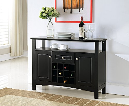 Kings Brand Furniture Wood Wine Rack Buffet Cabinet Storage Console Table, Black