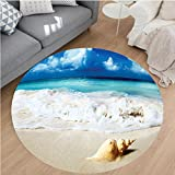 """pictures of sunrooms Nalahome Modern Flannel Microfiber Non-Slip Machine Washable Round Area Rug-Decor Nautical Picture Bright Sunny Sand Waves Picture Print Accessories Blue Ivory Green area rugs Home Decor-Round 63"""""""