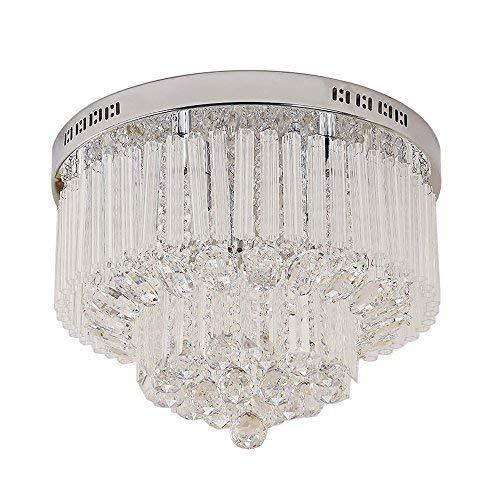Glighone LED Kristall Deckenleuchte Deckenlampe Luxuriös Modern Kronleuchter Rund 9x G9(25W) für Wohnzimmer Restaurant Hotel Küche Villa Balkon Flur usw.(Leuchtmittel erhalten)