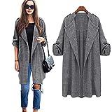Leedford Plus Size Cardigan, Womens Open Front Trench Coat Long Cloak Jackets Overcoat Waterfall Cardigan (Gray, M)