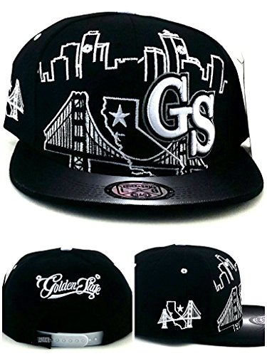 Leader of the Game Golden State New GS Skyline 3 Bridge Warriors Colors Black White Era Snapback Hat Cap