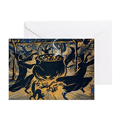 CafePress - Vintage Halloween Witches - Greeting Card, Note Card, Birthday Card, Blank Inside (Free Happy Halloween Cards)