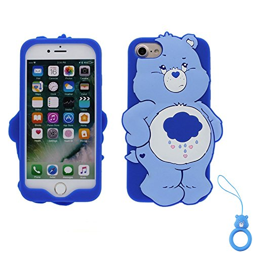 Case Character (Artbling Case for iPhone 7 8,Silicone 3D Cartoon Animal Cover,Kids Girls Cool Lovely Cute Cases,Kawaii Soft Gel Rubber Unique Character Protector+Finger Ring for iPhone7 iPhone8 (Rain Bear))