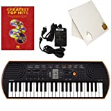 Casio SA-76 44 Key Mini Keyboard Deluxe Bundle Includes Bonus Casio AC Adapter, Desktop Music Stand & Greatest Pop Hits Beginning Piano Solo Songbook