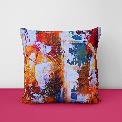 Canvas Color Paint Square Design Printed Cushion Cover