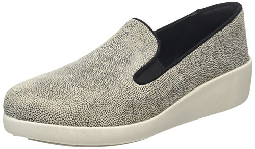 Fitflop F-Pop Skate, Mocasines para Mujer Multicolor (Stone Pebbleprint)
