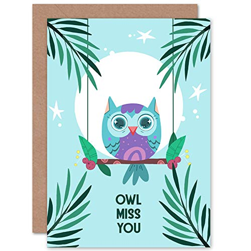 - Wee Blue Coo Kawaii Owl Perch Miss You Greeting Card with Envelope Blank Inside Premium Quality
