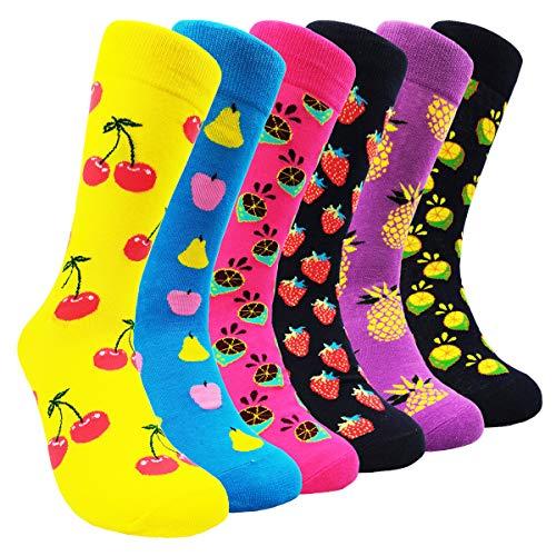 (Mens Colorful Dress Socks Patterned - HSELL Men Fashionable Funky Pattern Fun Crew Socks (Fruits - 6 Pairs))