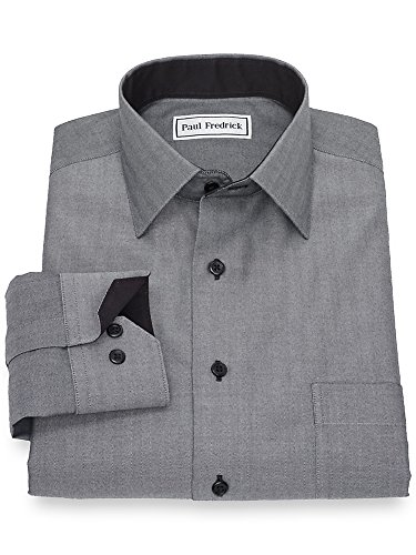 Non Fredrick Paul Iron (Paul Fredrick Men's Non-Iron Cotton Herringbone Casual Shirt Black/White Medium)
