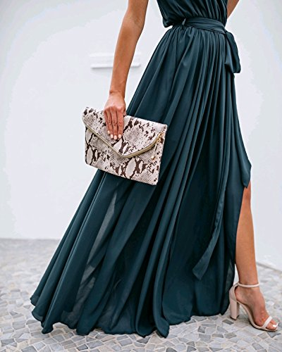 Pattern1 donne D'onore Sexy Eleganti Abiti Damigella Coolred Di Sfera Solido V Del Lunghi Da Sleeveless Dell'abito Spaccatura Collo FTqdTCw