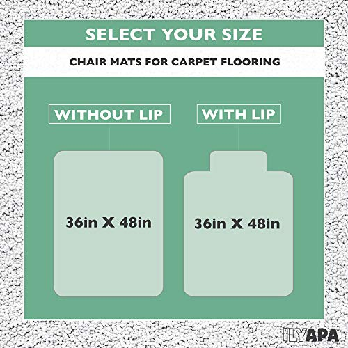 Carpet Chair Mat for Office Chairs 36 x 48 - Heavy Duty Floor Mats for Computer Desk by Ilyapa (Image #5)
