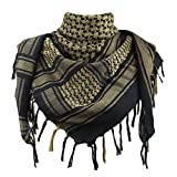 Explore Land 100% Cotton Shemagh Tactical Desert Scarf Wrap (Black and Brown)