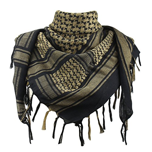 Explore Land 100% Cotton Shemagh Tactical Desert Scarf Wrap (Black and Brown) by Explore Land