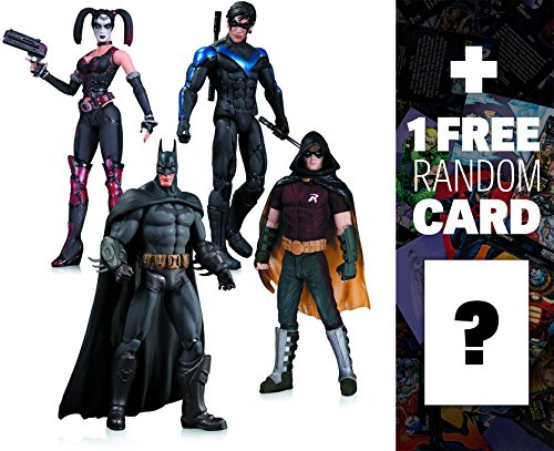 Batman, Harley Quinn, Robin, Nightwing: DC Collectibles Batman Arkham City Action Figure + 1 FREE Official DC Trading Card Bundle