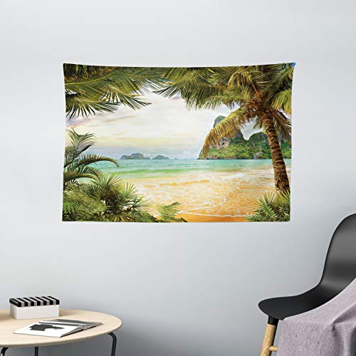 """Ambesonne Ocean Tapestry, Palm Coconut Trees and Ocean Waves Mountains on Paradise Island Beach Image, Wide Wall Hanging for Bedroom Living Room Dorm, 60"""" X 40"""", Green Cream"""