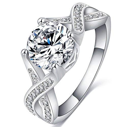 FENDINA Jewelry Womens Luxurious 18K White Gold Plated Cubic Zirconia Infinity Love Solitaire Promise Eternity Ring Engagement Wedding Anniversary Band Her, Size 8