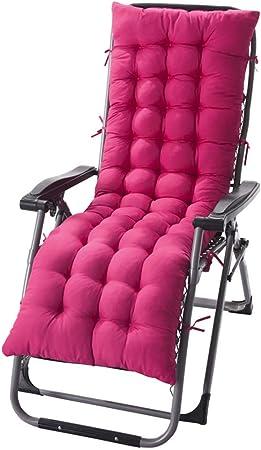 Amiiaz Cojín de Repuesto para Tumbona Silla Portátil Jardín Cojines para Silla Reclinable Espesar Cojines para Tumbona Colchoneta para Tumbona Al Aire Libre Interior-125X48X8cm Rosa roja: Amazon.es: Hogar