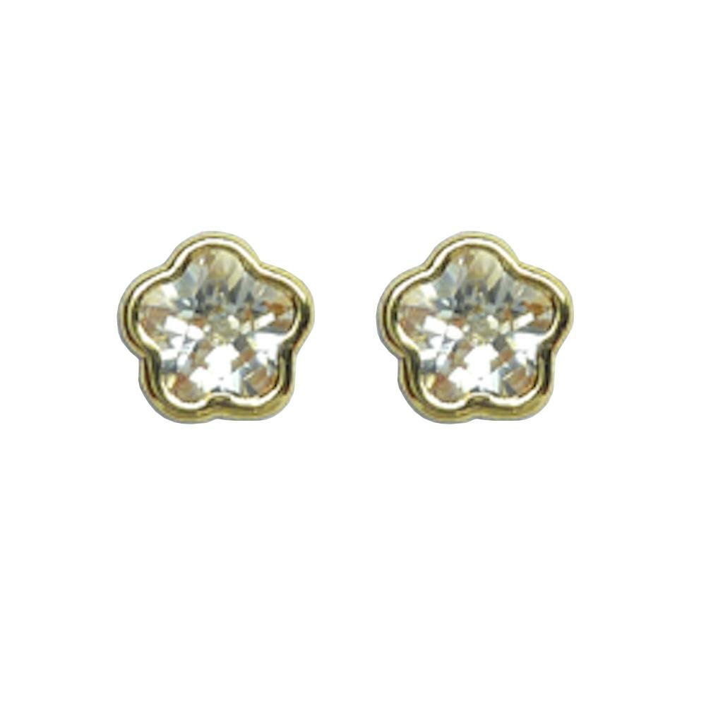 BecKids 14k Gold Sparkling CZ Flower Stud Earrings Screw Backs