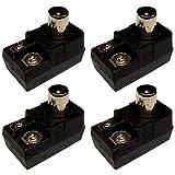 CESS Balun 75/300 ohm TV Connector Antenna Matching Transformer (4 Pack)