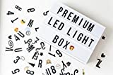 Premium A4 Cinematic Led Light Box | Includes 117 Letters, Symbols and Emojis which Light up Board to Share Personal Messages | Cinema Lightbox Sign is USB Powered or Portable with Batteries