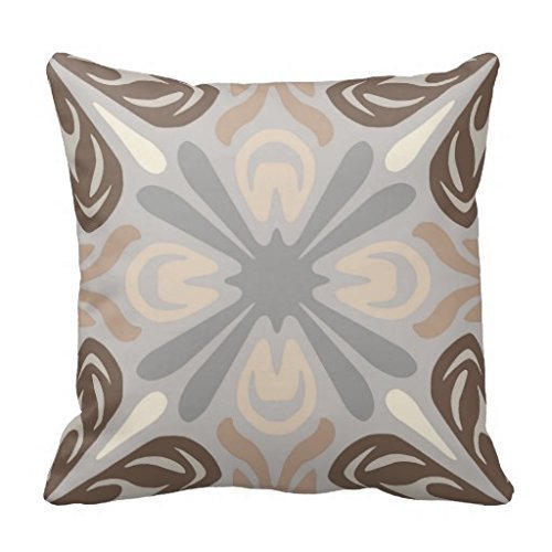 Neutral Pattern 18*18 pillow Case In Grey Tan Brown (Gray And Brown Pillows)