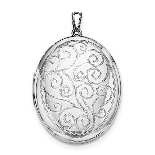 ICE CARATS 925 Sterling Silver Swirls 34mm Oval Photo Pendant Charm Locket Chain Necklace That Holds Pictures Fine Jewelry Gift Set For Women Heart by ICE CARATS