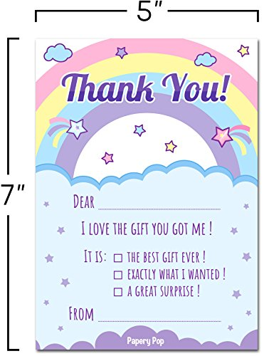 Kids Thank You Cards with Envelopes (15 Count) - Kids Birthday Thank You Notes for Girls Photo #2