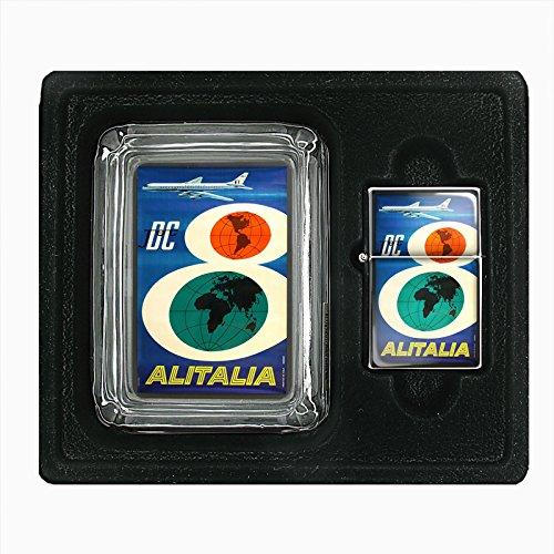 glass-ashtray-oil-lighter-gift-set-vintage-poster-d-076-dc-jet-airlines-alitalia
